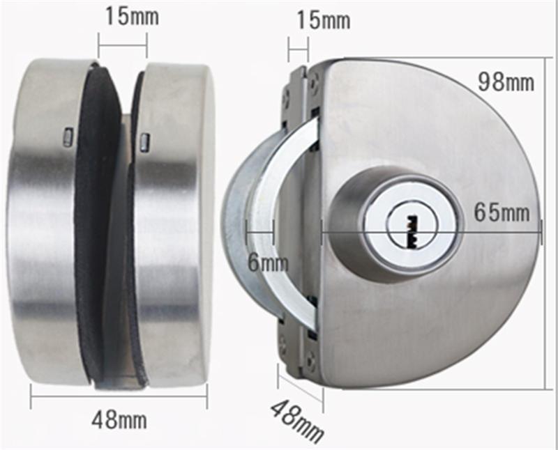 Office center stainless steel glass door locks RY-02