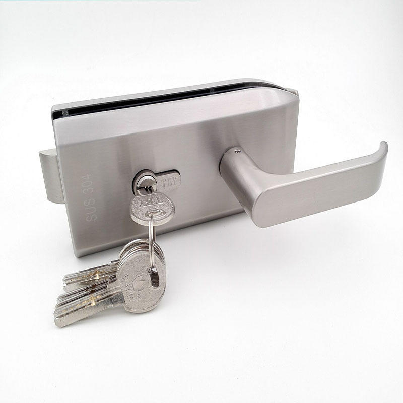 Double Side Commercial Aluminum Sliding Center Glass Door Lock With Keys.