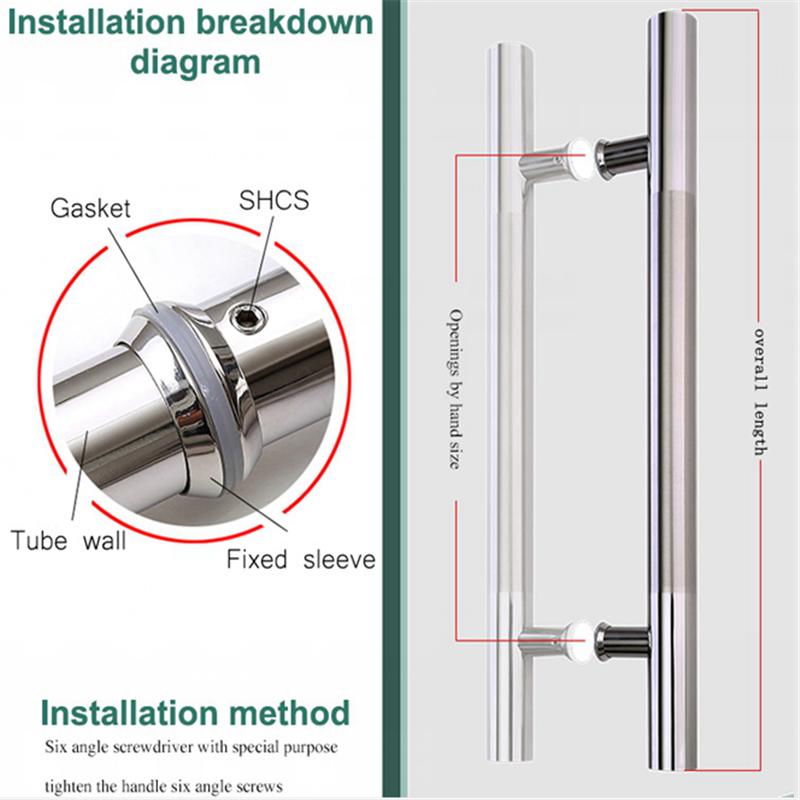 RONGYAO-6068 H Handle Stainless Steel Glass Door Wooden Door Handle-10